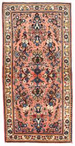 Sarough Teppich 67X137 Echter Orientalischer Handgeknüpfter Dunkelgrau/Hellrosa (Wolle, Persien/Iran)