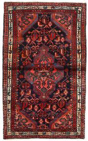 Hamadan Teppich  77X128 Echter Orientalischer Handgeknüpfter Schwartz/Dunkelrot (Wolle, Persien/Iran)