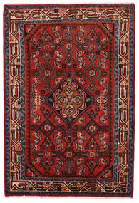 Hamadan Teppich  78X117 Echter Orientalischer Handgeknüpfter Rost/Rot/Dunkelrot/Schwartz (Wolle, Persien/Iran)