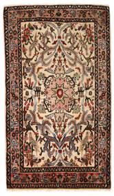Hamadan Teppich  77X132 Echter Orientalischer Handgeknüpfter Dunkelbraun/Weiß/Creme (Wolle, Persien/Iran)