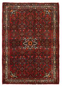 Hosseinabad Teppich  79X113 Echter Orientalischer Handgeknüpfter Dunkelrot/Dunkelbraun (Wolle, Persien/Iran)