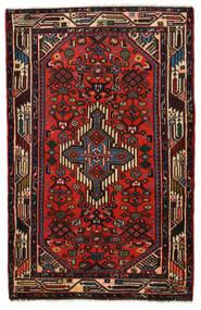 Hamadan Teppich 77X120 Echter Orientalischer Handgeknüpfter Dunkelbraun/Dunkelrot (Wolle, Persien/Iran)