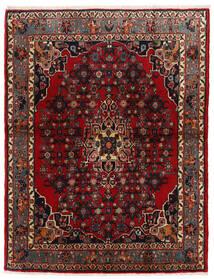 Bidjar Teppich  105X137 Echter Orientalischer Handgeknüpfter Dunkelrot/Dunkelbraun (Wolle, Persien/Iran)