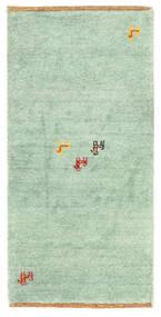 Gabbeh Indisch Teppich  60X122 Echter Moderner Handgeknüpfter Lindgrün/Weiß/Creme (Wolle, Indien)