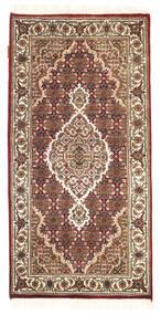 Täbriz Royal Teppich  70X140 Echter Orientalischer Handgeknüpfter Dunkelbraun/Hellbraun/Weiß/Creme ( Indien)