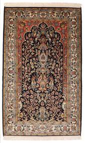 Kaschmir Reine Seide Teppich 82X132 Echter Orientalischer Handgeknüpfter Schwartz/Dunkelbraun (Seide, Indien)