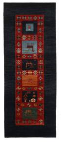 Gabbeh Loribaft Teppich  92X235 Echter Moderner Handgeknüpfter Läufer Dunkelgrau/Dunkelrot (Wolle, Indien)