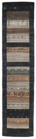 Loribaf Loom Teppich 79X340 Echter Moderner Handgeknüpfter Läufer Schwartz/Hellgrau (Wolle, Indien)