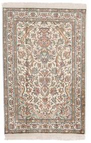 Kaschmir Reine Seide Teppich 62X94 Echter Orientalischer Handgeknüpfter Hellgrau/Beige (Seide, Indien)