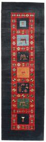 Gabbeh Loribaft Teppich 92X295 Echter Moderner Handgeknüpfter Läufer Dunkelblau/Rost/Rot (Wolle, Indien)