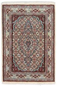 Moud Teppich  62X90 Echter Orientalischer Handgeknüpfter Hellgrau/Dunkelbraun (Wolle/Seide, Persien/Iran)
