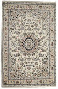 Nain Indisch Teppich  198X305 Echter Orientalischer Handgeknüpfter Hellgrau/Dunkelgrau ( Indien)