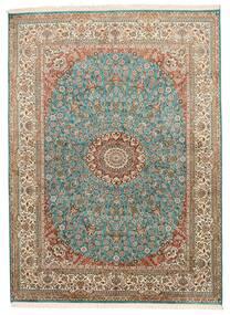 Kaschmir Reine Seide Teppich 159X218 Echter Orientalischer Handgeknüpfter Braun/Dunkelgrau (Seide, Indien)