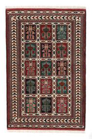 Turkaman Teppich 98X146 Echter Orientalischer Handgeknüpfter Dunkelbraun/Dunkelrot (Wolle, Persien/Iran)