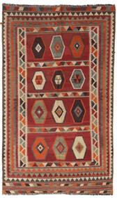 Kelim Vintage Teppich 133X232 Echter Orientalischer Handgewebter Dunkelrot/Hellbraun/Dunkelbraun (Wolle, Persien/Iran)
