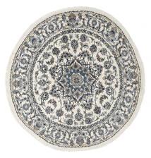 Nain Teppich  Ø 200 Echter Orientalischer Handgeknüpfter Rund Hellgrau/Dunkelgrau/Dunkel Beige (Wolle, Persien/Iran)