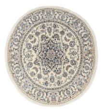 Nain Teppich  Ø 200 Echter Orientalischer Handgeknüpfter Rund Hellgrau/Beige (Wolle, Persien/Iran)