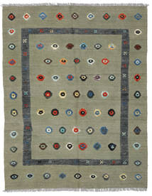 Kelim Nimbaft Teppich  150X192 Echter Moderner Handgewebter Hellgrau/Olivgrün (Wolle, Afghanistan)