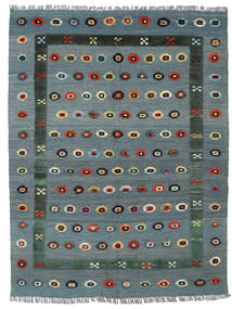 Kelim Nimbaft Teppich  150X196 Echter Moderner Handgewebter Blau/Hellgrau (Wolle, Afghanistan)