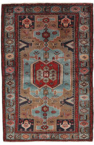 Hamadan Teppich  132X205 Echter Orientalischer Handgeknüpfter Schwartz/Dunkelbraun (Wolle, Persien/Iran)