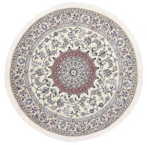 Nain 9La Teppich  Ø 145 Echter Orientalischer Handgeknüpfter Rund Weiß/Creme/Hellgrau (Wolle/Seide, Persien/Iran)