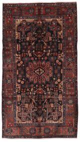 Nahavand Teppich 156X280 Echter Orientalischer Handgeknüpfter Läufer Schwartz/Dunkelbraun (Wolle, Persien/Iran)