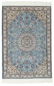 Nain 9La Teppich 80X117 Echter Orientalischer Handgeknüpfter Schwartz/Hellgrau (Wolle/Seide, Persien/Iran)
