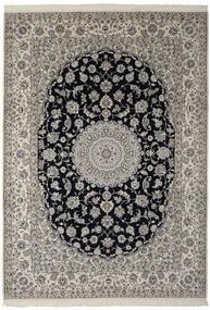 Nain 9La Teppich  250X355 Echter Orientalischer Handgeknüpfter Dunkelgrau/Schwartz Großer (Wolle/Seide, Persien/Iran)