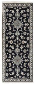 Nain Teppich  77X195 Echter Orientalischer Handgeknüpfter Läufer Schwartz/Weiß/Creme (Wolle, Persien/Iran)