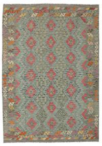 Kelim Afghan Old Style Teppich  177X248 Echter Orientalischer Handgewebter Dunkelgrün (Wolle, Afghanistan)