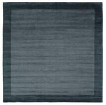 Handloom Frame - Petrol Blau Teppich  300X300 Moderner Quadratisch Schwartz/Dunkelblau Großer (Wolle, Indien)