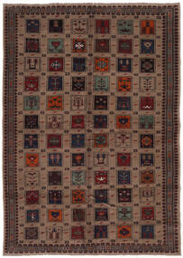 Belutsch Teppich  207X290 Echter Orientalischer Handgeknüpfter Schwartz/Dunkelbraun (Wolle, Afghanistan)