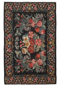 Kelim Rosen Moldavia Teppich  218X340 Echter Orientalischer Handgewebter Schwartz/Dunkelbraun (Wolle, Moldawien)