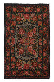 Kelim Rosen Moldavia Teppich  208X340 Echter Orientalischer Handgewebter Schwartz/Weiß/Creme (Wolle, Moldawien)