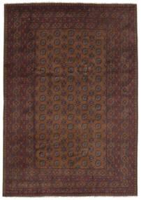 Afghan Teppich  200X287 Echter Orientalischer Handgeknüpfter Schwartz/Dunkelbraun (Wolle, Afghanistan)