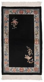 China 90 Line Teppich  91X152 Echter Orientalischer Handgeknüpfter Schwartz/Beige (Wolle, China)