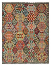 Kelim Afghan Old Style Teppich  160X204 Echter Orientalischer Handgewebter Dunkelbraun/Dunkelgrün (Wolle, Afghanistan)