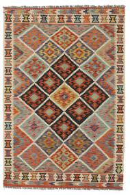 Kelim Afghan Old Style Teppich  128X188 Echter Orientalischer Handgewebter Dunkelbraun/Dunkelgrün (Wolle, Afghanistan)