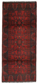 Afghan Khal Mohammadi Teppich  80X191 Echter Orientalischer Handgeknüpfter Läufer Schwartz/Dunkelrot (Wolle, Afghanistan)