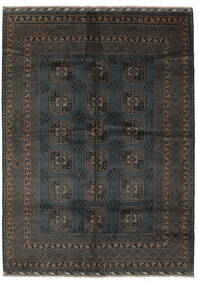 Afghan Teppich  207X286 Echter Orientalischer Handgeknüpfter Schwartz/Dunkelbraun (Wolle, Afghanistan)