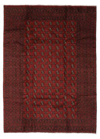 Afghan Teppich  204X280 Echter Orientalischer Handgeknüpfter Schwartz/Beige (Wolle, Afghanistan)