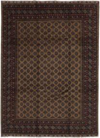 Afghan Teppich  255X343 Echter Orientalischer Handgeknüpfter Schwartz/Dunkelbraun Großer (Wolle, Afghanistan)