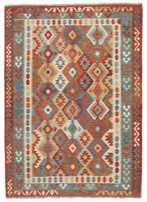 Kelim Afghan Old Style Teppich  174X243 Echter Orientalischer Handgewebter Dunkelbraun/Dunkelrot (Wolle, Afghanistan)