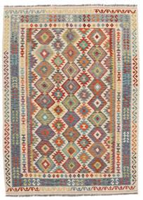 Kelim Afghan Old Style Teppich  180X247 Echter Orientalischer Handgewebter Schwartz/Dunkelrot (Wolle, Afghanistan)